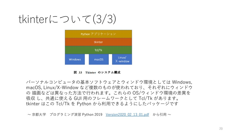 tkinterについて(3/3) パーソナルコンピュータの基本ソフトウェアとウィンドウ環境とし...