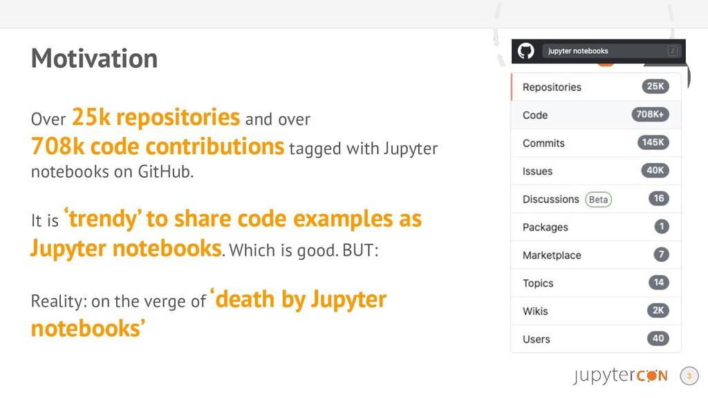 Motivation 3 Over 25k repositories and over 708...
