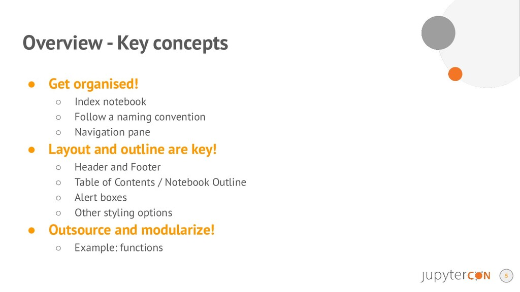 Overview - Key concepts ● Get organised! ○ Inde...