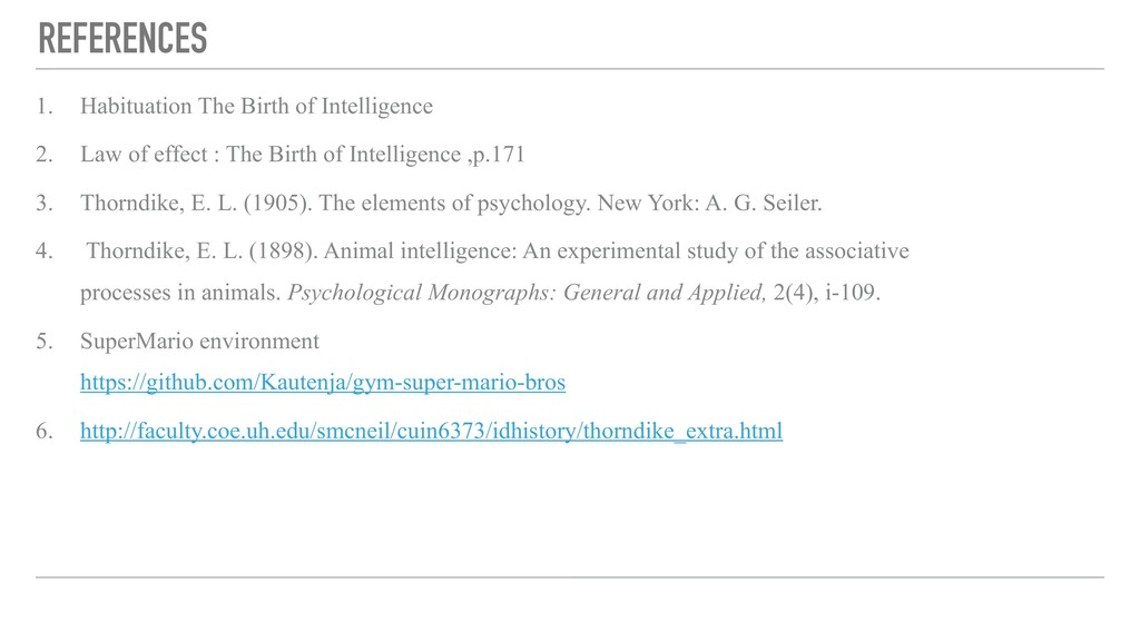 REFERENCES 1. Habituation The Birth of Intellig...