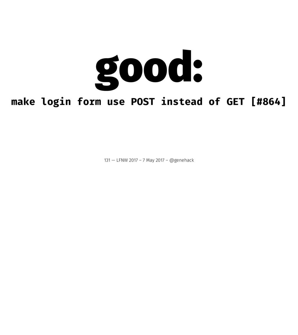 good: make login form use POST instead of GET [...