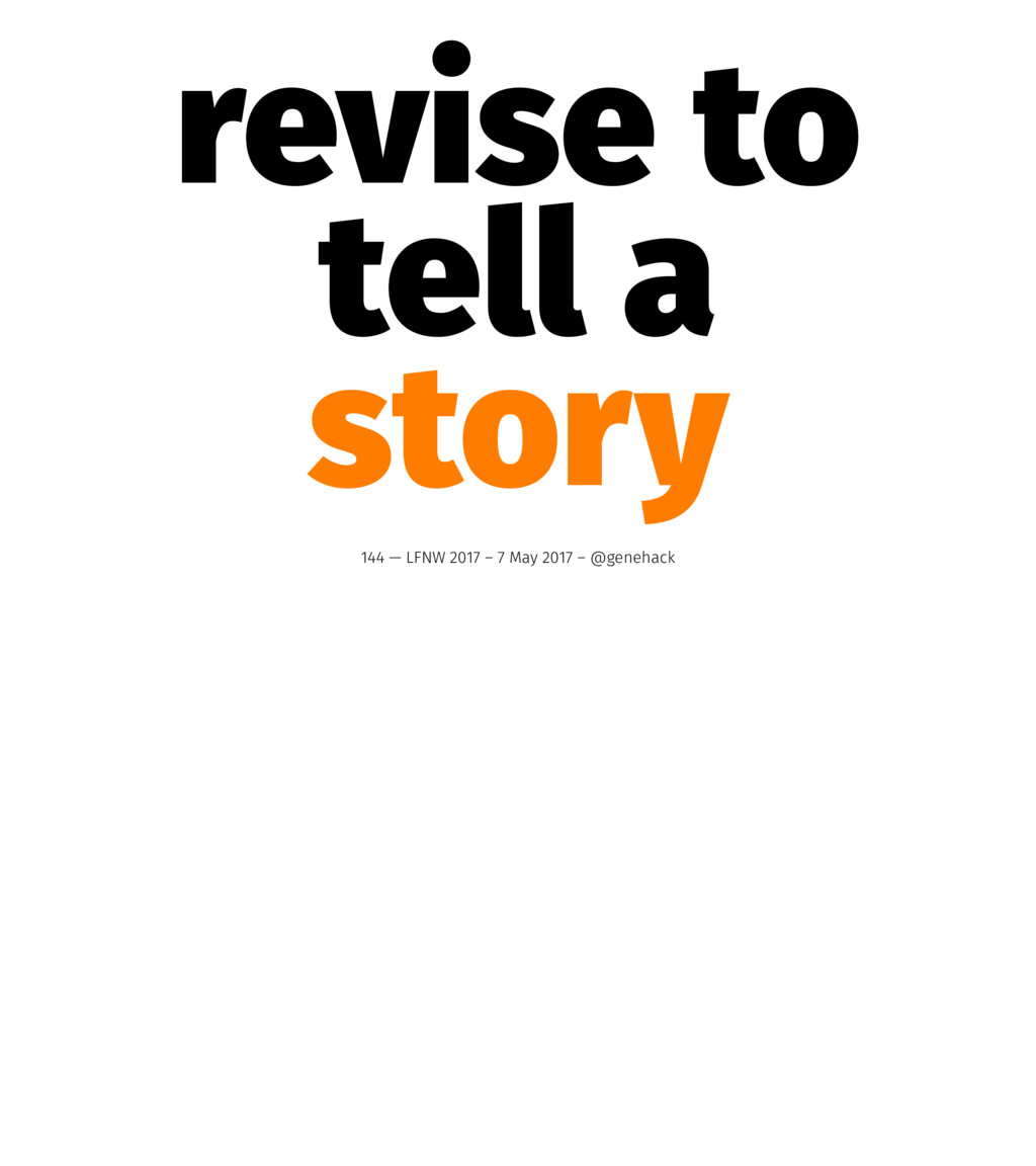 revise to tell a story 144 — LFNW 2017 – 7 May ...