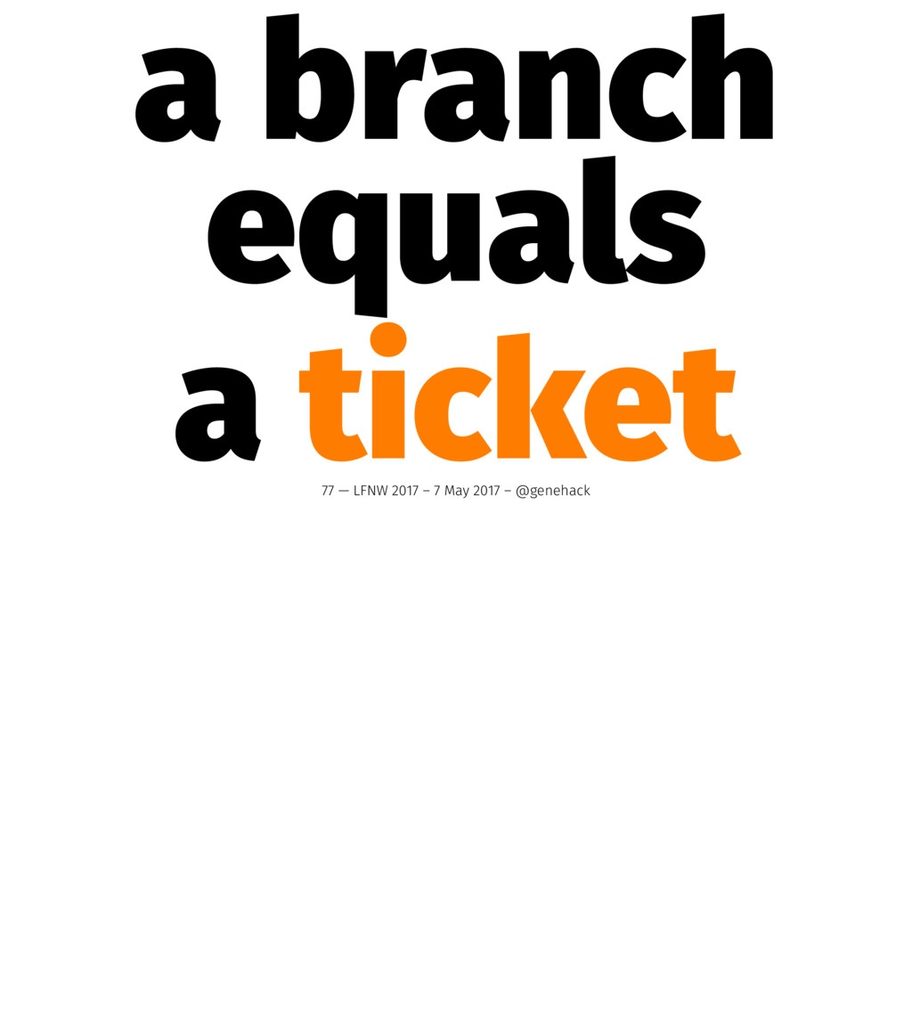 a branch equals a ticket 77 — LFNW 2017 – 7 May...