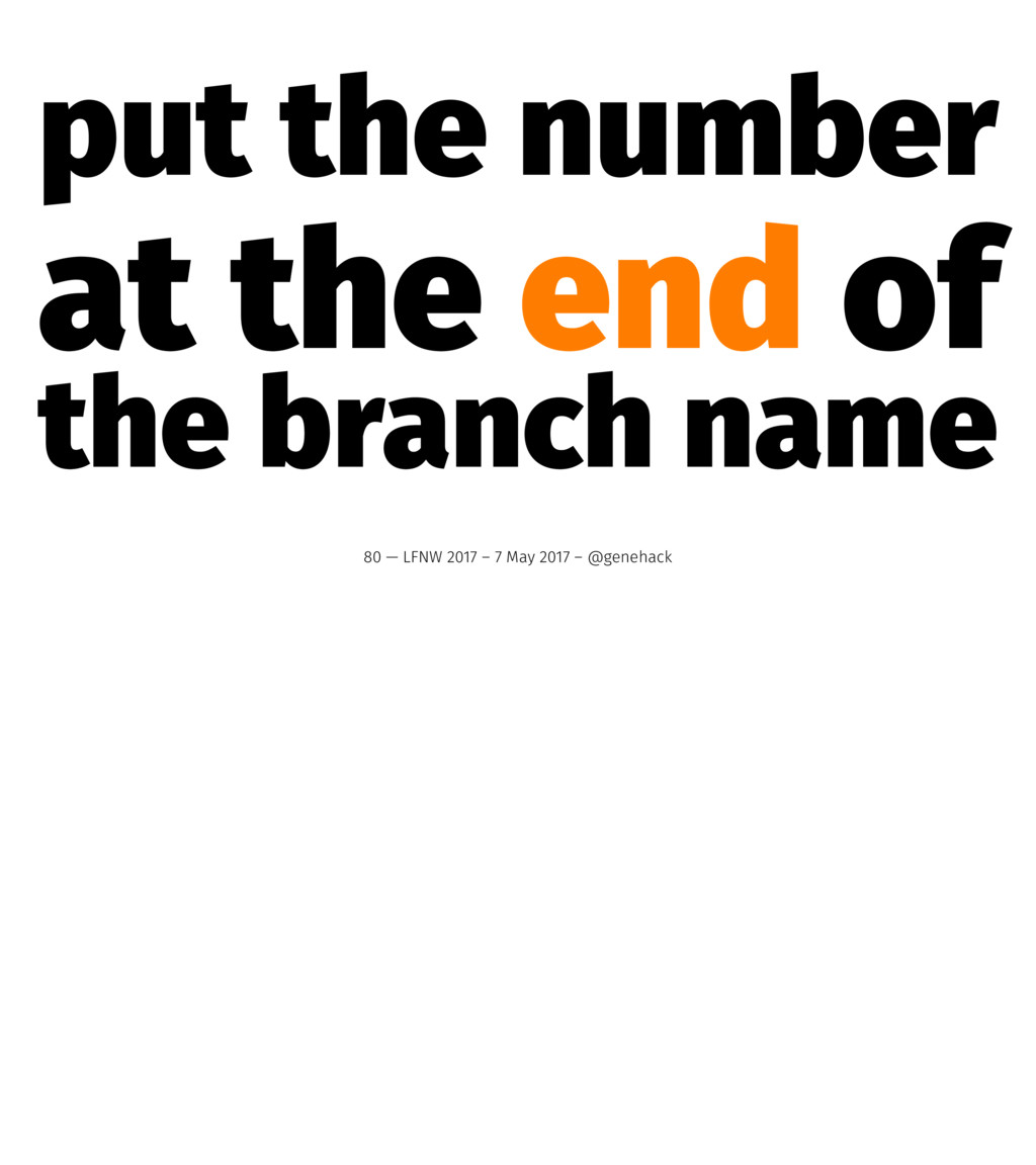 put the number at the end of the branch name 80...