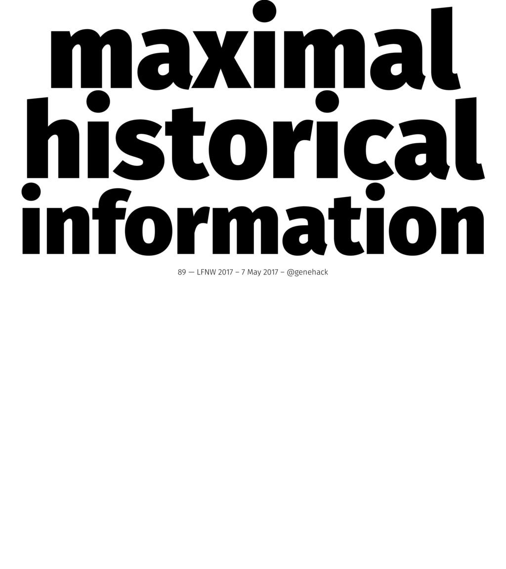 maximal historical information 89 — LFNW 2017 –...