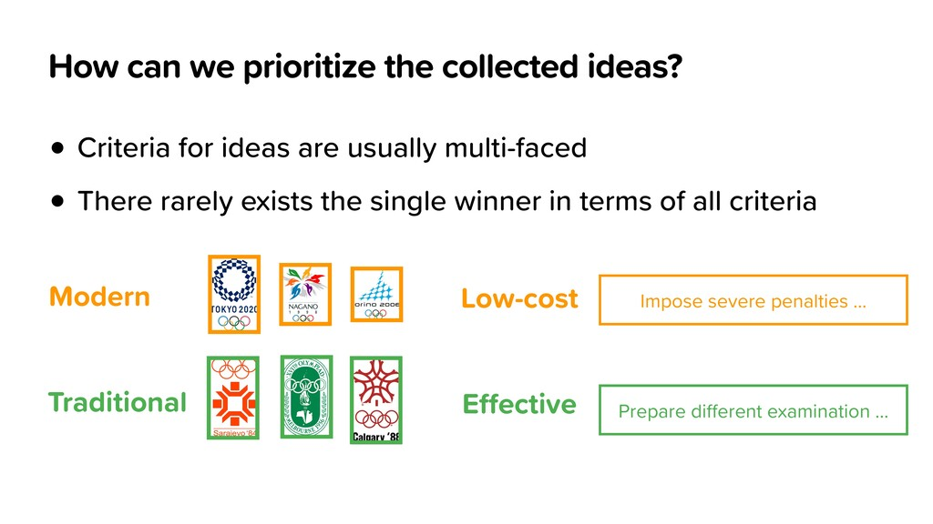 How can we prioritize the collected ideas? • Cr...