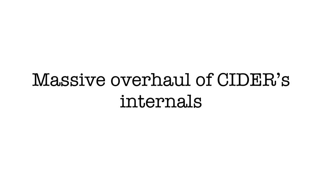 Massive overhaul of CIDER's internals