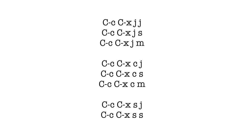 C-c C-x j j C-c C-x j s C-c C-x j m C-c C-x c j...