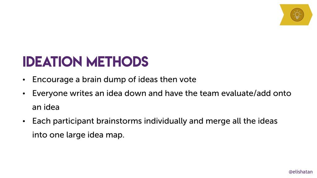 @elishatan ideation methods • Encourage a brain...