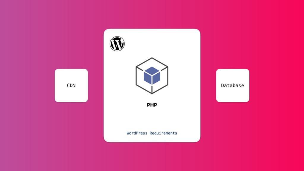 PHP WordPress Requirements Database CDN