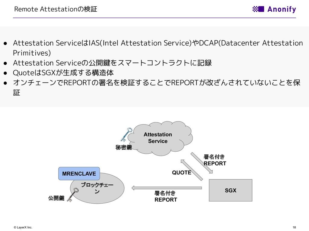 18 © LayerX Inc. Remote Attestationの検証 ● Attest...