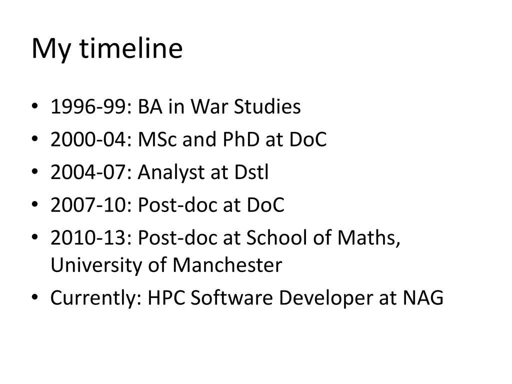 My timeline • 1996-99: BA in War Studies • 2000...