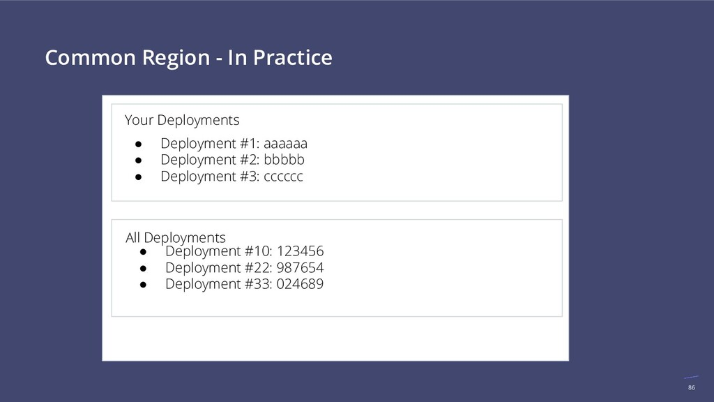 86 Common Region - In Practice Your Deployments...