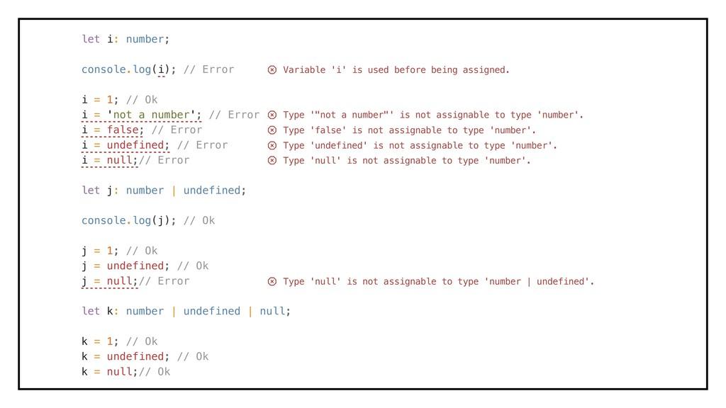 let i: number; console.log(i); // Error i = 1; ...