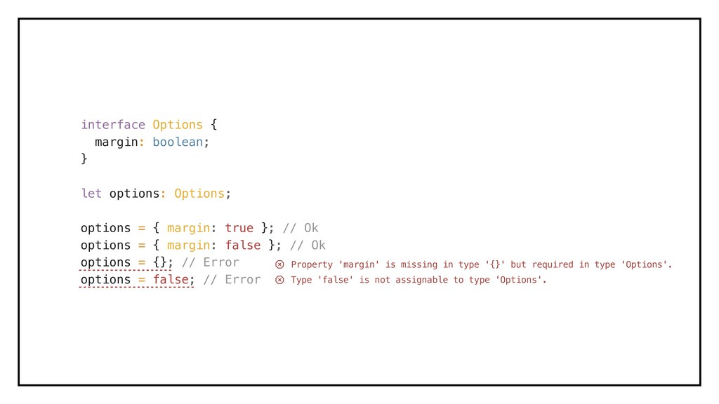 interface Options { margin: boolean; } let opti...