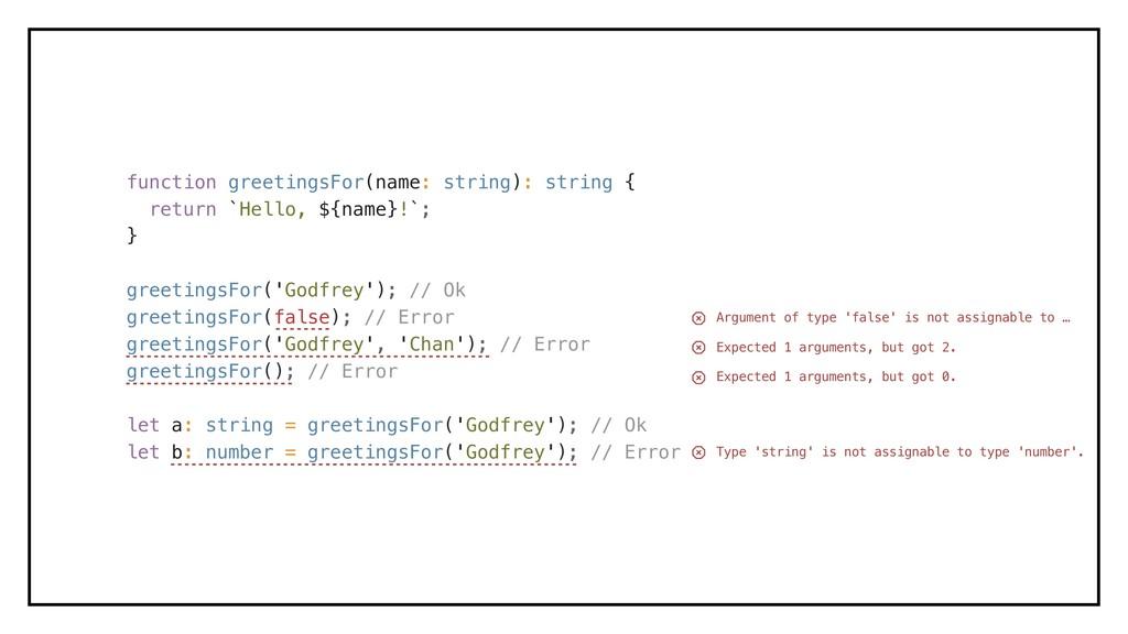 function greetingsFor(name: string): string { r...