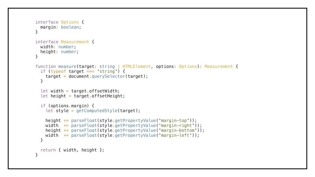 interface Options { margin: boolean; } interfac...