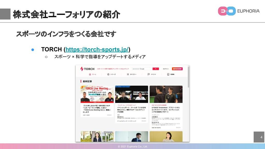 © 2021 Euphoria Co., Ltd. 4 株式会社ユーフォリアの紹介 スポーツの...