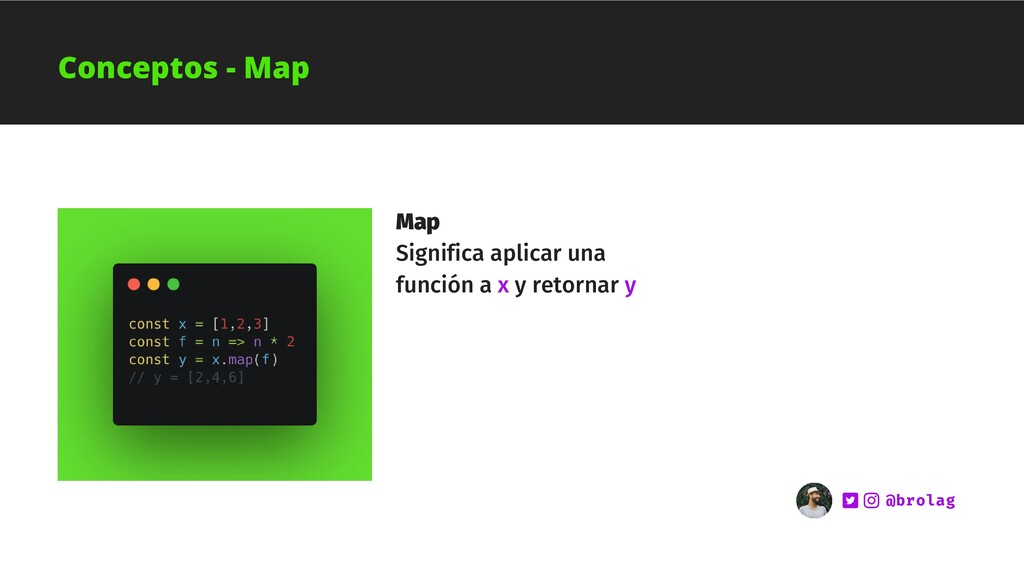 Map Significa aplicar una función a x y retorna...