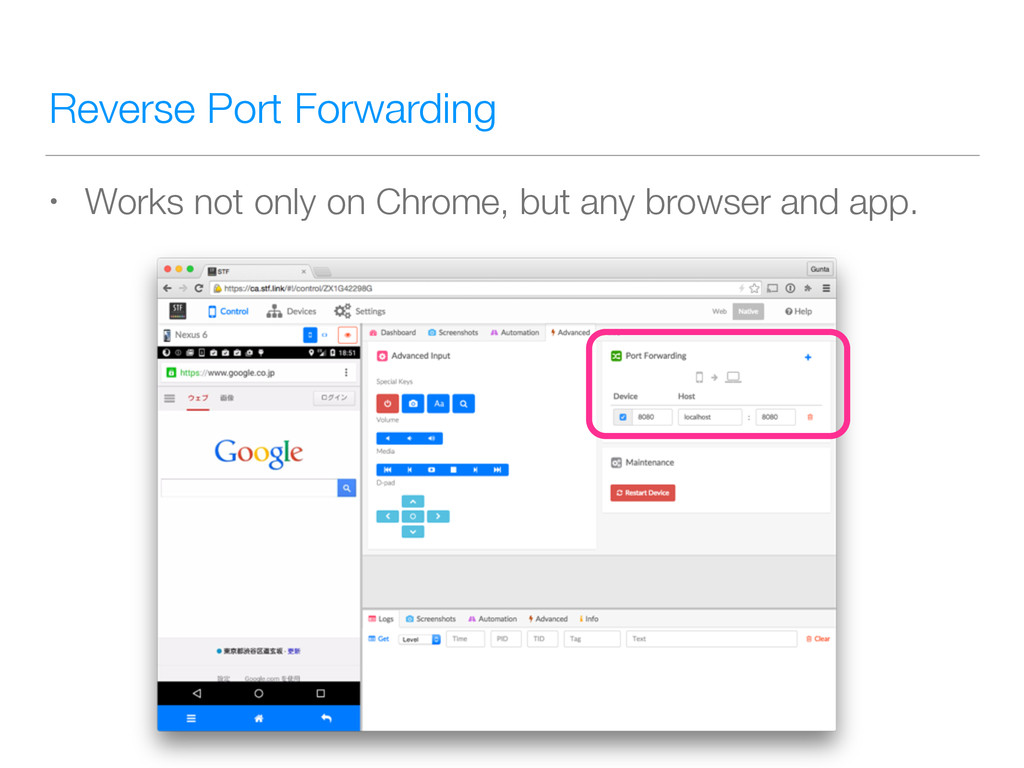 Reverse Port Forwarding • Works not only on Chr...
