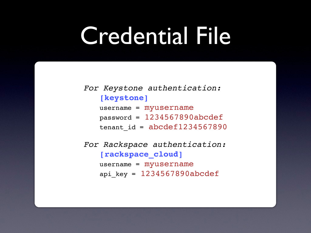 Credential File For Keystone authentication: [k...