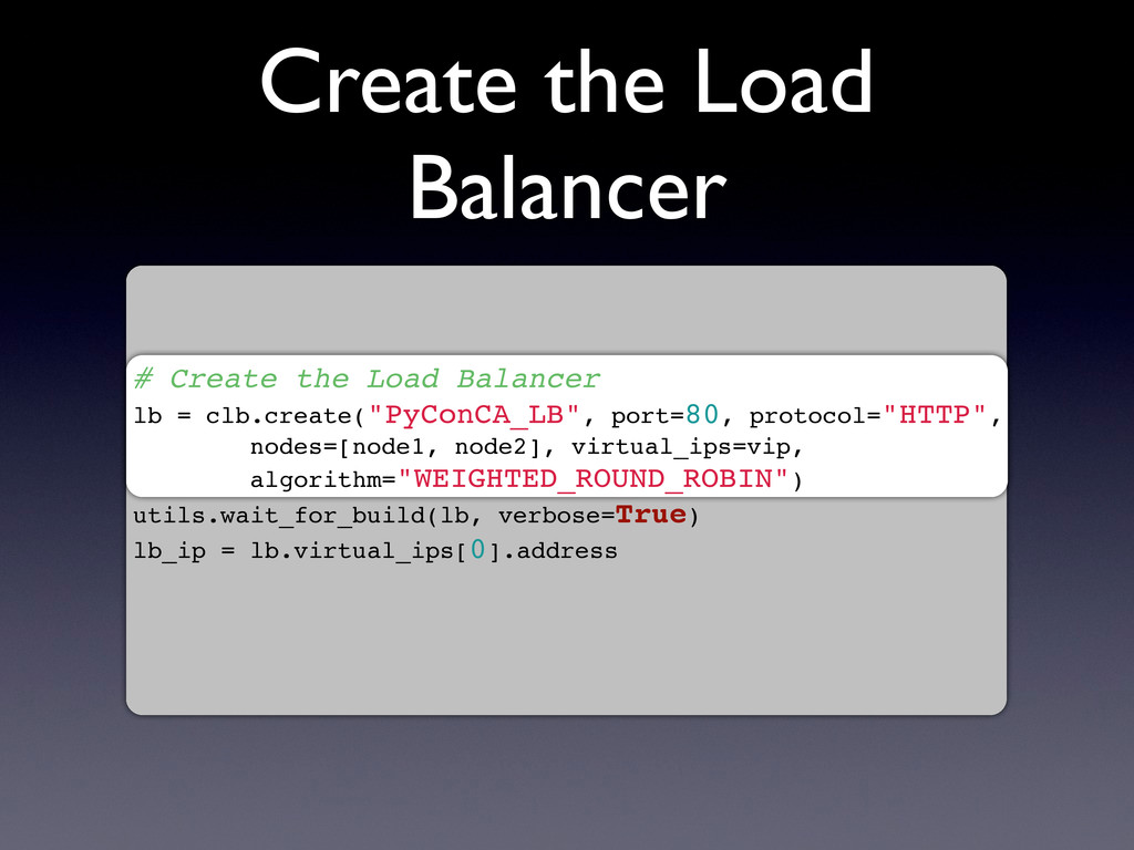 Create the Load Balancer # Create the Load Bala...