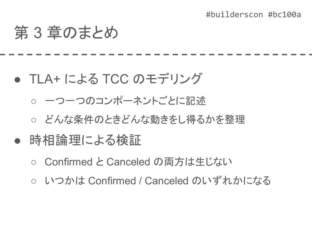 #builderscon #bc100a 第 3 章のまとめ ● TLA+ による TCC の...