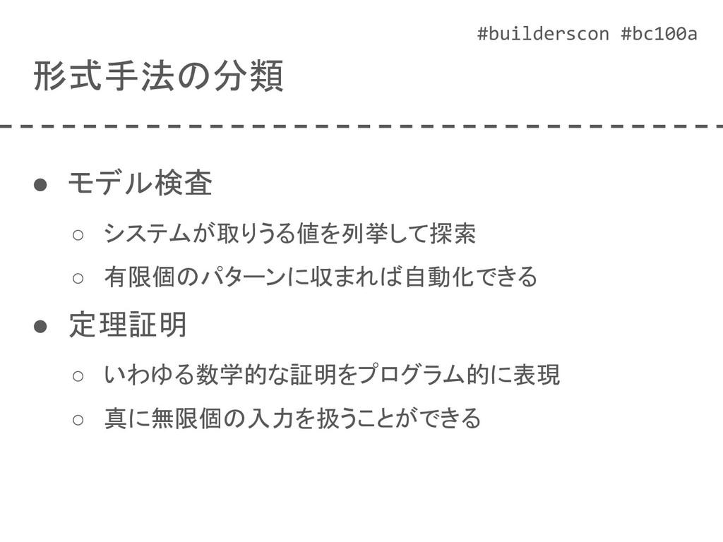 #builderscon #bc100a 形式手法の分類 ● モデル検査 ○ システムが取りう...