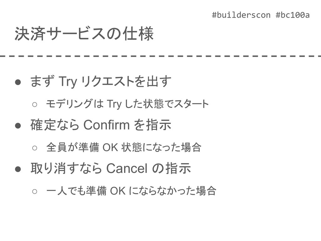 #builderscon #bc100a 決済サービスの仕様 ● まず Try リクエストを出...