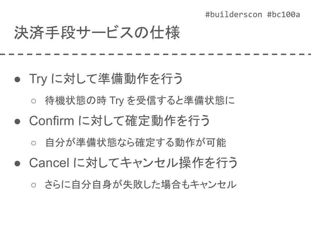 #builderscon #bc100a 決済手段サービスの仕様 ● Try に対して準備動作...