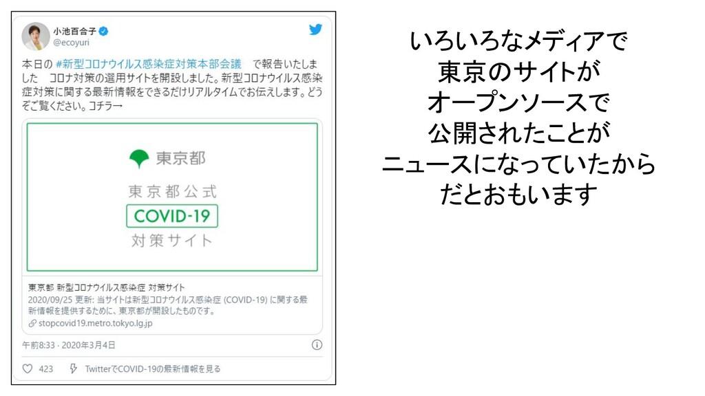 いろいろなメディアで 東京のサイトが オープンソースで 公開されたことが ニュースになっていた...