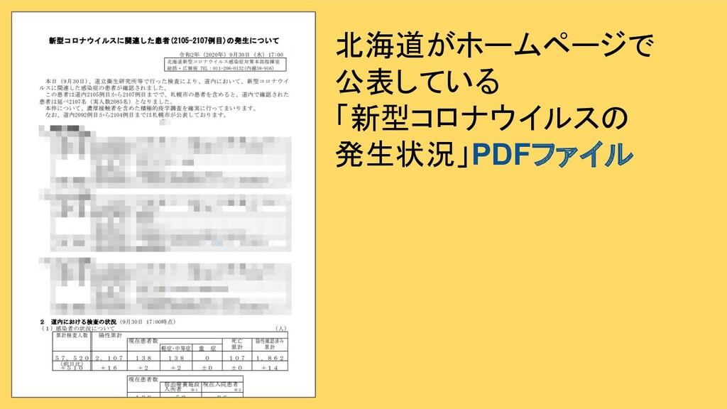 北海道がホームページで 公表している 「新型コロナウイルスの 発生状況」PDFファイル