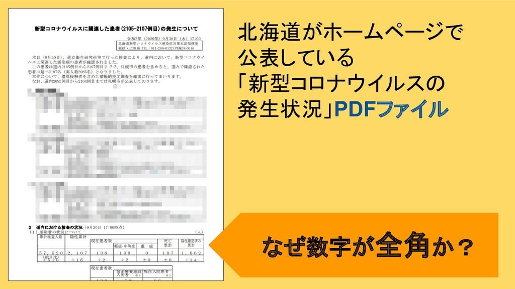北海道がホームページで 公表している 「新型コロナウイルスの 発生状況」PDFファイル なぜ数...