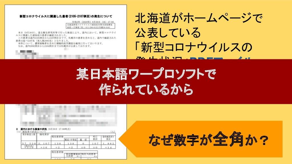 北海道がホームページで 公表している 「新型コロナウイルスの 発生状況」PDFファイル 某日本...
