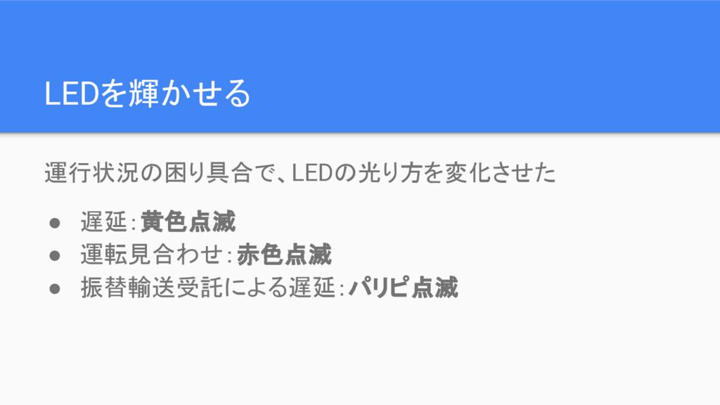 LEDを輝かせる 運行状況の困り具合で、LEDの光り方を変化させた ● 遅延:黄色点滅 ● 運...