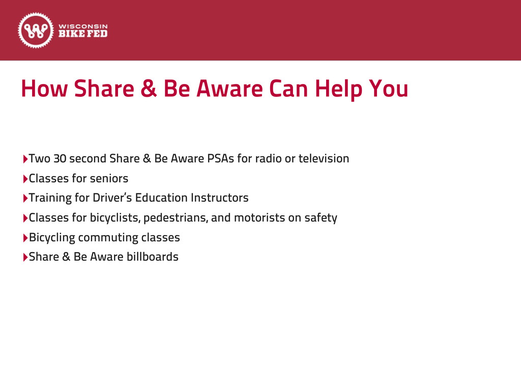 How Share & Be Aware Can Help You ‣Two 30 secon...