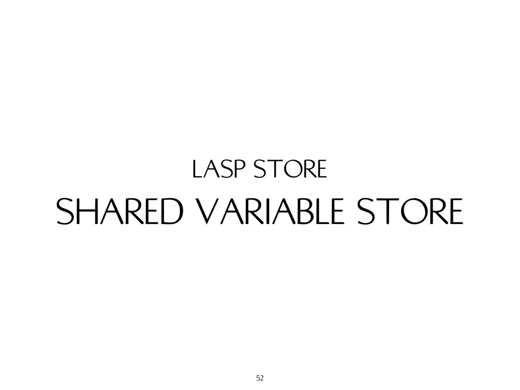 SHARED VARIABLE STORE LASP STORE 52