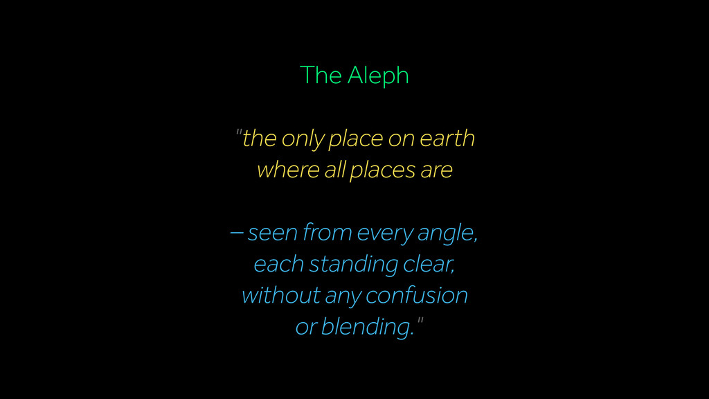 """The Aleph """"the only place on earth where all pl..."""