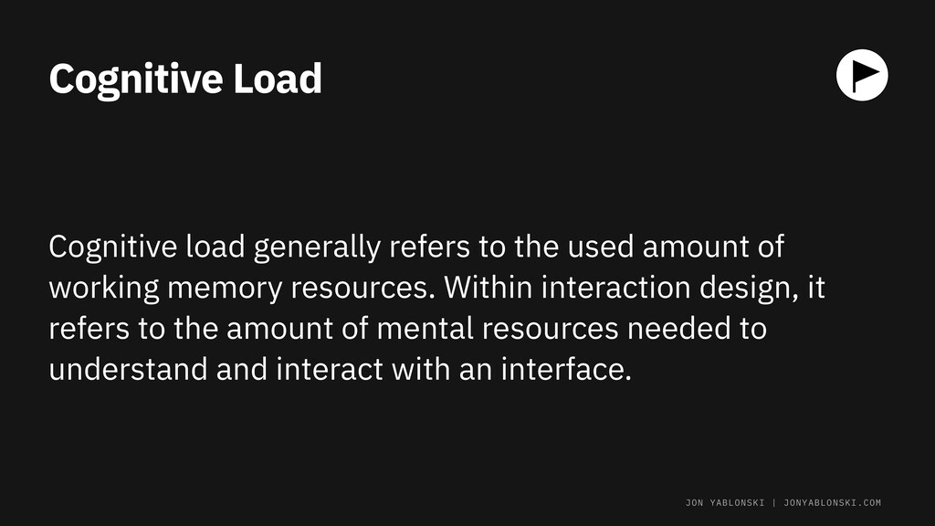 Cognitive Load Cognitive load generally refers ...