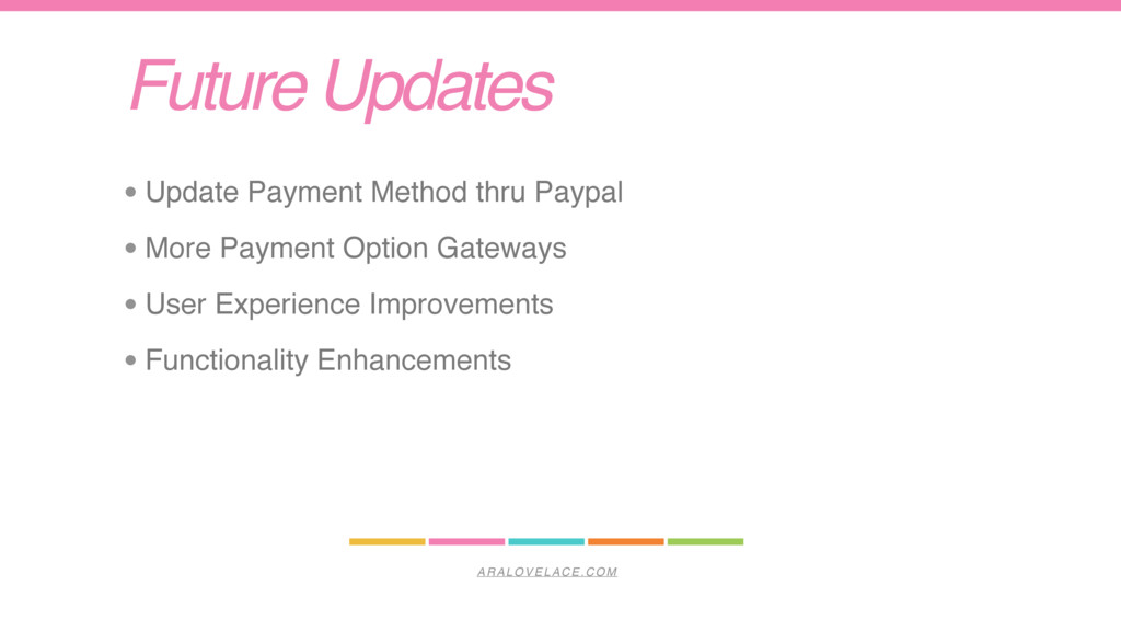 ARALOVELACE.COM Future Updates • Update Payment...