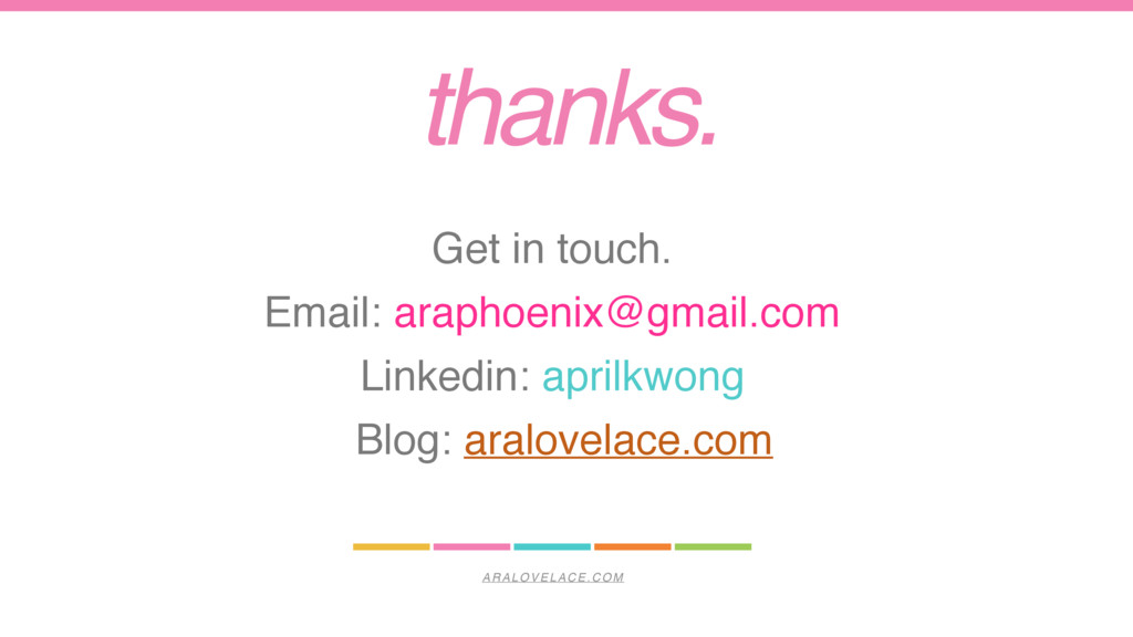 ARALOVELACE.COM thanks. Get in touch. Email: ar...