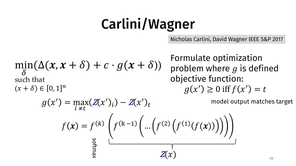 Carlini/Wagner 98 Formulate optimization proble...