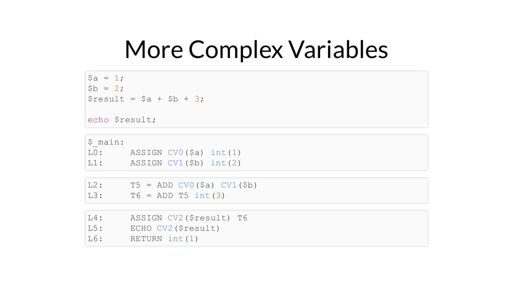 More Complex Variables $a = 1; $b = 2; $result ...
