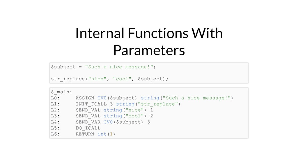 "Internal Functions With Parameters $subject = ""..."