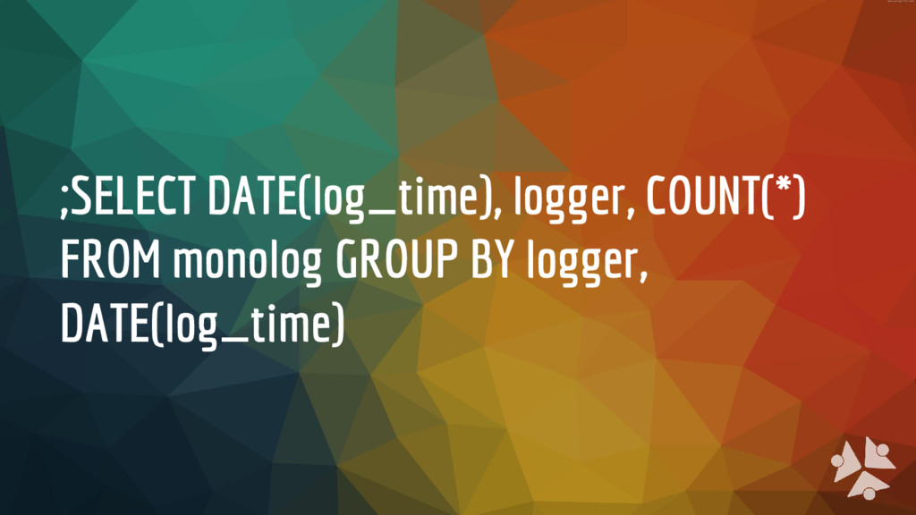 ;SELECT DATE(log_time), logger, COUNT(*) FROM m...