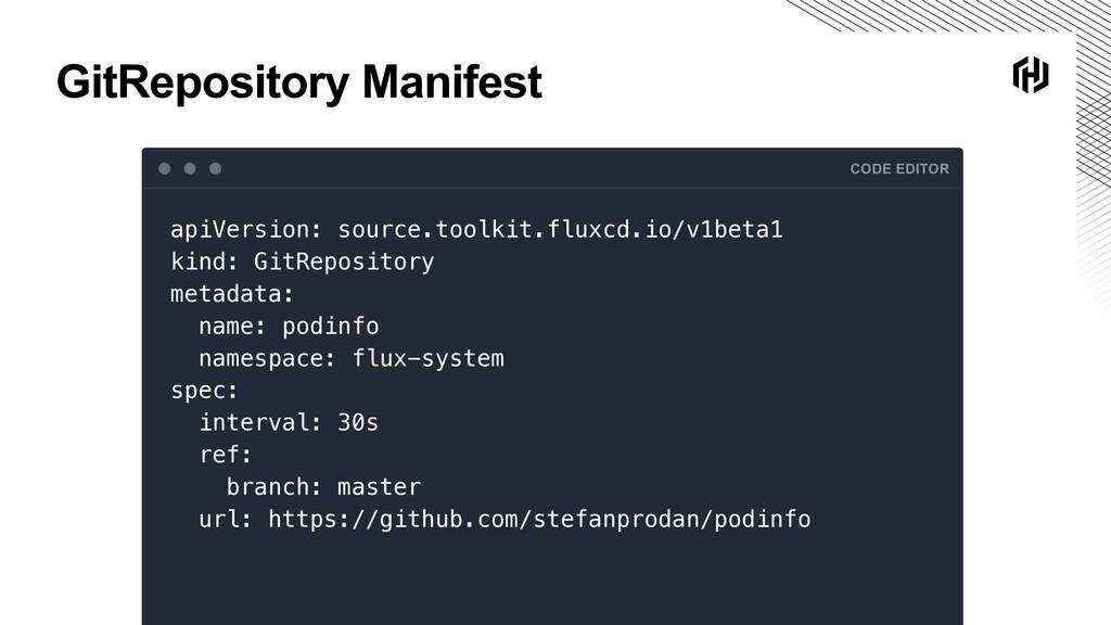 GitRepository Manifest CODE EDITOR apiVersion: ...