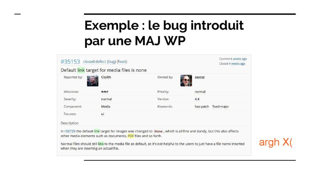 Exemple : le bug introduit par une MAJ WP argh ...