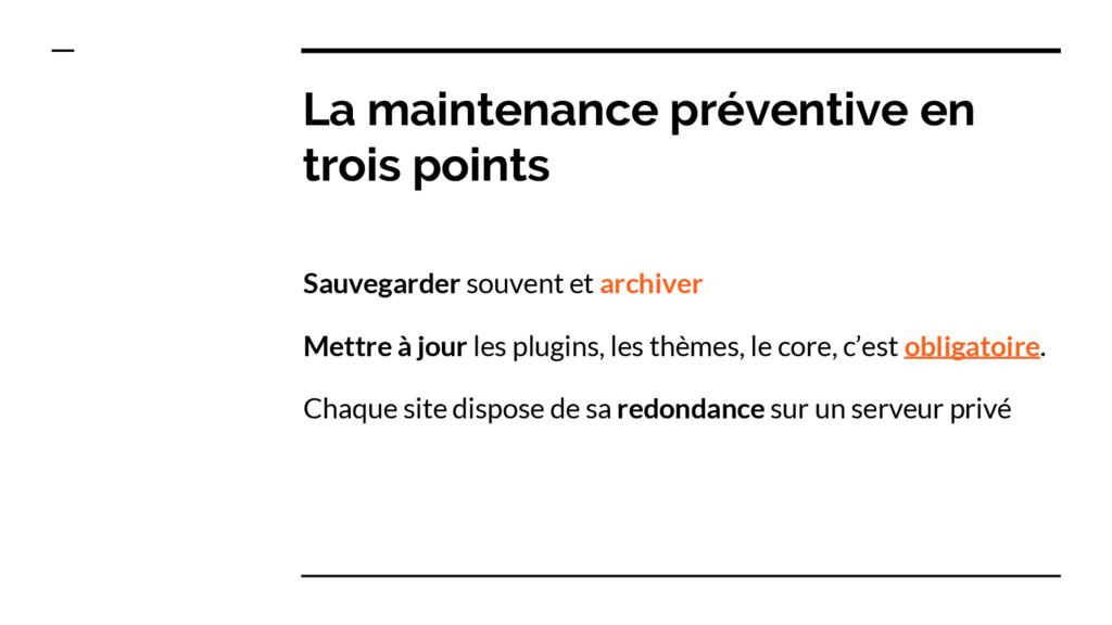 La maintenance préventive en trois points Sauve...