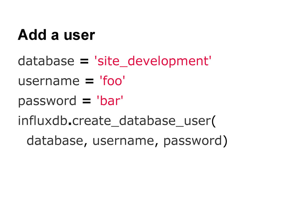 Add a user database = 'site_development' userna...