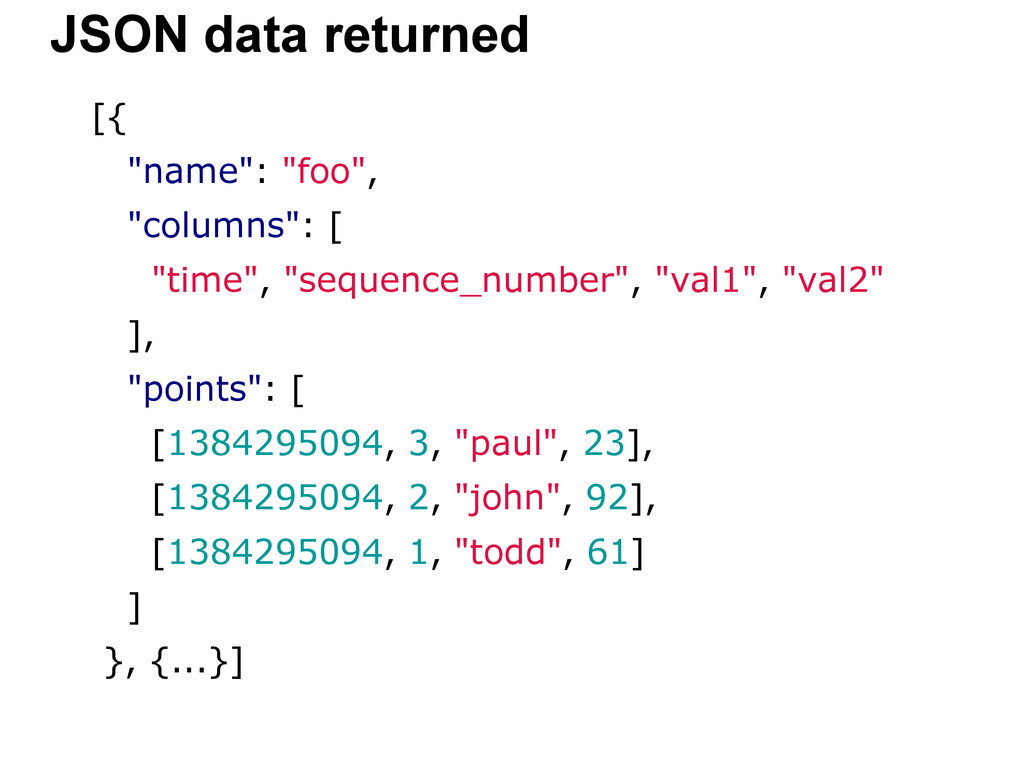 "[{ ""name"": ""foo"", ""columns"": [ ""time"", ""sequenc..."